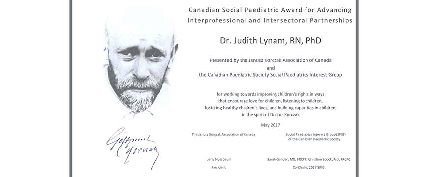 UBC MHLP Janusz Korczak Canadian Social Pediatrics Award